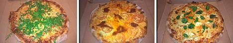 Pizzat 7, 8 ja 9. Ainesosat ja Sorjosen kuvaus löytyvät jutun lopusta.