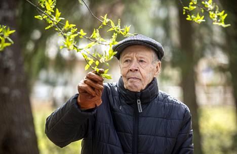 Sotaveteraani Olli Vuorio kuvattuna keväällä 2020 lähellä kotiaan Vantaan Myyrmäessä.