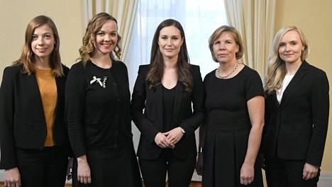 Li Andersson (vas.), Katri Kulmuni, Sanna Marin, Anna-Maja Henriksson sekä Maria Ohisalo.