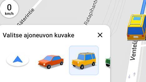 Tee valinta vain auton ollessa paikoillaan. Kuvakaappaus Google Mapsista.