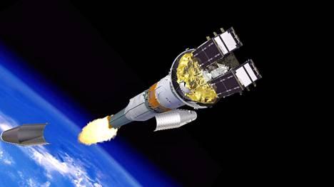 Artistin näkemys kahden Galileo-satelliitin ampumisesta kiertoradalle.