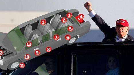 Trumpin Cadillac Onen suojaus on suunniteltu perusteellisesti.