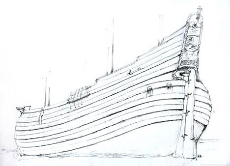 Rekonstruktiopiirros esittää laivaa aikoinaan. Perälauta on paikallaan peräosan yläosassa.