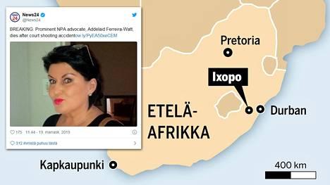 Eteläafrikkalainen syyttäjä sai surmansa onnettomuudessa.