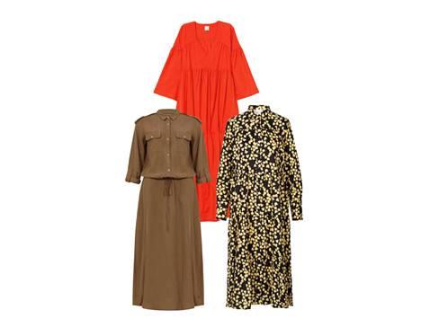 H&M:n väljä, punainen mekko kerää katseet, 69,99 €. Coster Copenhagenin ruskea paitamekko on tiivistä ja kevyttä tencelin ja pellavan sekoitetta, 169 €. Pitkähihainen kukkamekko sopii joka säähän, 165 €, Second Female.