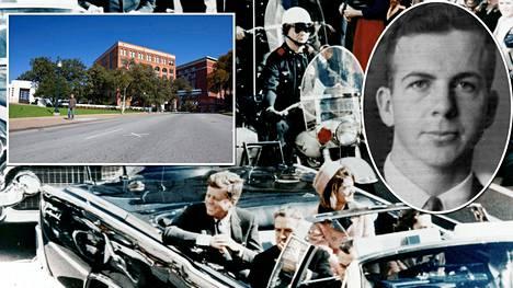 Kuvassa keskellä John F. Kennedy vaimonsa Jacqueline Kennedyn kanssa auton kyydissä vain hetkiä ennen salamurhaajan iskua. Kyydissä ovat myös Teksasin kuvernööri John Connally ja hänen vaimonsa Nellie. Virallisen selvityksen mukaan Kennedyn murhasi entinen merijalkaväen sotilas Lee Harvey Oswald (oik.). Oswald ei ehtinyt vastaamaan syytöksiin oikeuden edessä, sillä dallasilainen yökerhon omistaja Jack Ruby surmasi Oswaldin vain päiviä Kennedyn murhan jälkeen. Vasemmalla Kennedyn murhapaikka Dallasin Dealey Plaza -puistoaukio.