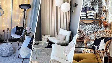 Kaisan, Jennin ja Kirsin lasitetut parvekkeet ovat osa kodin sisustusta. Viihtyisä tyyli syntyy väreistä, jotka miellyttävät omaa silmää.
