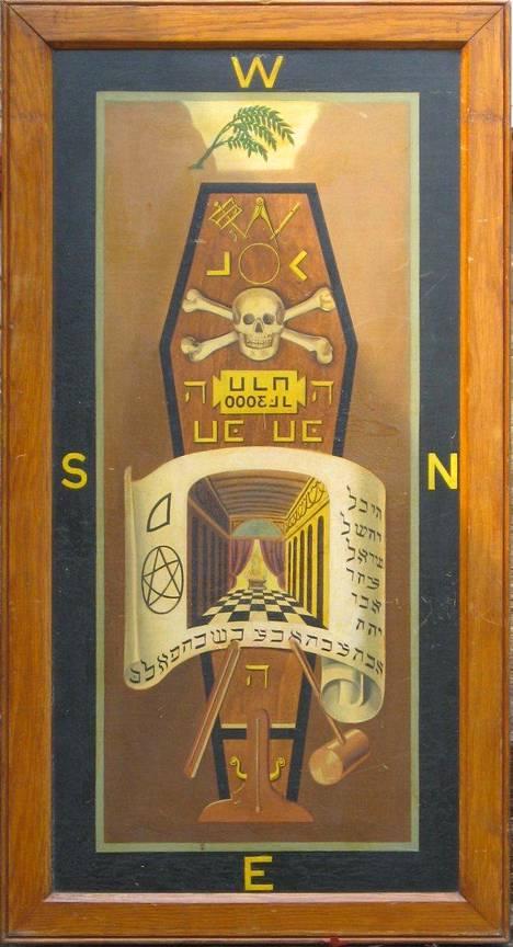 Tämä vapaamuurarien salakirjoitusta sisältävä taulu on peräisin vuodelta 1876.