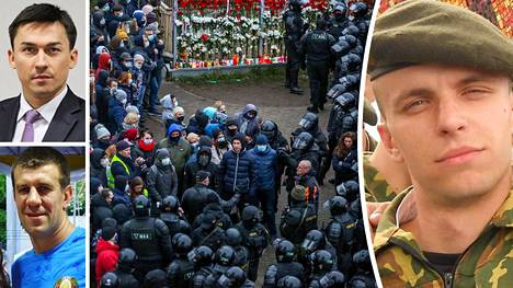Valko-Venäjän oppositio kerääntyi Raman Bandarenkan (oik.) muistopaikalle sunnuntaina ja joutui poliisin piirittämäksi. Pahoinpitelijäksi epäillään Dmitri Shakutaa (vas. alh.) ja Dmitri Baskovin (vas. ylh.) epäillään seuranneen pahoinpitelyä lähietäisyydeltä.