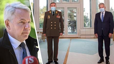 Valeri Gerasimov tapasi keskiviikkona presidentti Sauli Niinistön. Vasemmassa kuvassa ulkoministeri Pekka Haavisto.