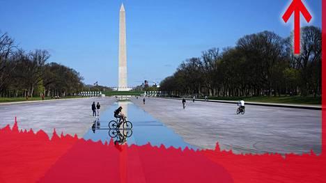 Punainen seinä tuli vastaan Yhdysvaltain työttömyysluvuissa. Washington-monumentin heijastusallas oli tyhjennetty huoltoa varten 26. maaliskuuta.