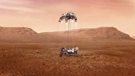 Taiteilijan näkemys mönkijän laskusta Marsin pinnalle.