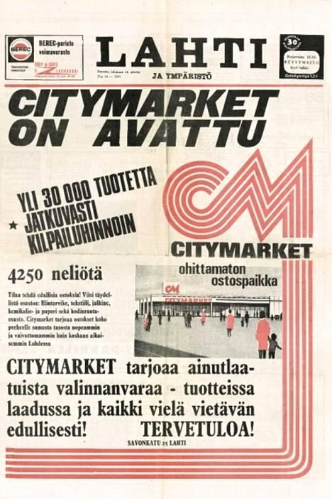 Näin ensimmäistä Citymarkettia mainostettiin.