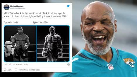Mike Tyson valmistautuu näytösotteluun, jossa hän palaa kehään 28. marraskuuta.