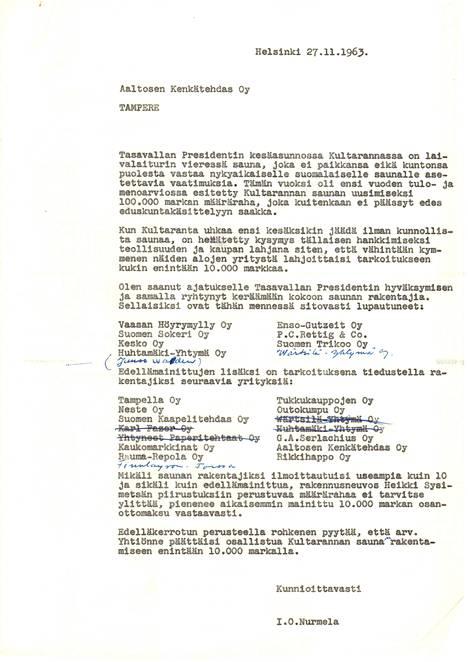 Kesken kirjeen laadinnan Valkeakosken patruuna Juuso Walden mitä ilmeisimmin ilmoitti Ilmo Nurmelalle lähtevänsä rahoittamaan saunaa.