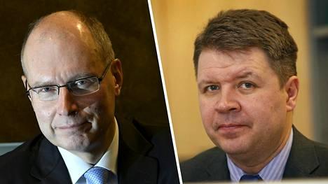 Oikeusministeriön vaalijohtaja Arto Jääskeläinen (vas.) ja Tampereen yliopiston politiikan tutkija Sami Borg ehdottavat Uudenmaan vaalipiirin jakamista kahtia.