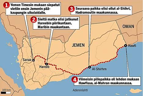 Vahvistamattomien jemeniläistietojen mukaan siepatut suomalaiset ja itävaltalaismies siirrettiin aluksi 1.) pääkaupungin Sanaan ulkopuolelle, 2.) Maribin maakuntaan, 3.) Hadramoutin maakuntaan ja 4.) viimeiseksi itäjemeniläiseen al-Mahran maakuntaan, Omanin rajalle.