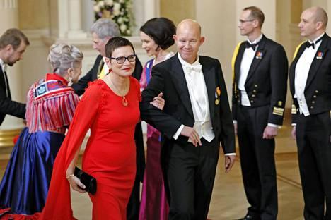 Kaj Kunnas vaimonsa Gerd Marianne Kummel-Kunnaksen kanssa Linnan juhlissa itsenäisyyspäivänä 2019.