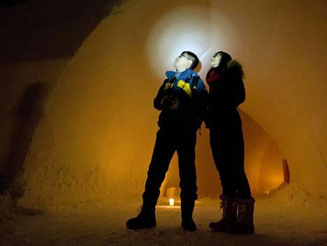 Kiinalaiset matkailijat Chen Yanzhao (vas) ja Lu Xiaoming tähystivät revontulia pilvien läpi.