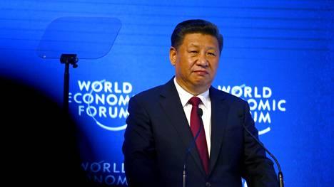Kiinan presidentti Xi Jinping Maailman talousfoorumin tapaamisessa vuonna 2017.