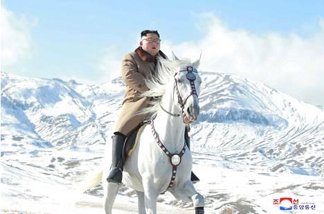 Pohjois-Korean Kim Jong-unin hevosen jalkaa tukee suomalaistuote. Kuvat toteutettu propagandatarkoituksessa.