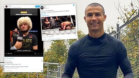Habib Nurmagomedov on voittanut kaikki 29 UFC-otteluaan. Cristiano Ronaldo (oik.) hehkutti venäläistä Instagramissa.