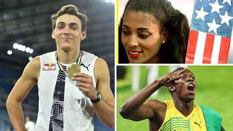 Armand Duplantis (vas.) pitää nyt hallussaan seiväshypyn maailmanennätyksiä niin ulko- kuin sisäradoilla. Florence Griffith-Joynerin (oik. yllä) ja Usain Boltin ennätyksille tuskin löytyy rikkojaa ainakaan lähivuosina.