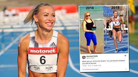 Pika-aituri Annimari Korte hymyili iloisena juostuaan ennätyksensä kesäkuun alussa Lahdessa.