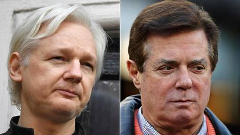 Julian Assangen (vas.) ja Paul Manafortin väitetään tavanneen maaliskuussa 2016.