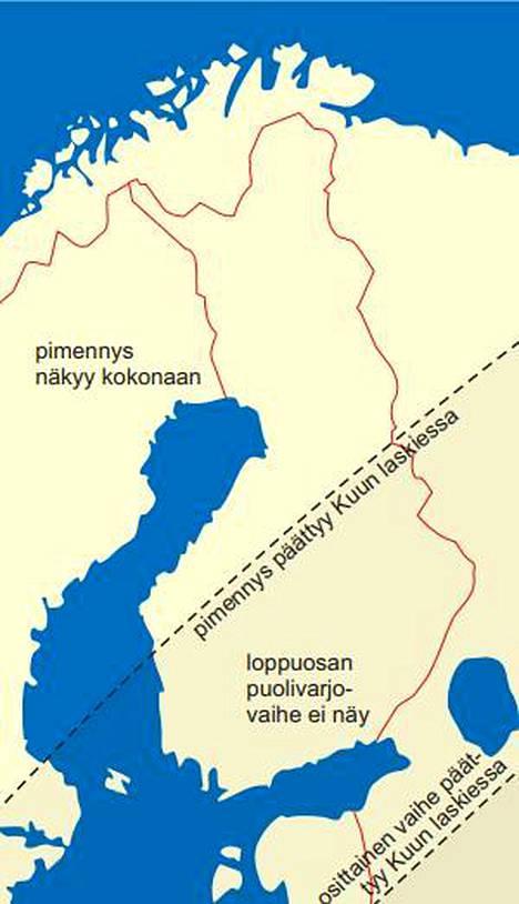 Pimennyksen vaiheiden näkyminen Suomessa. Pimennyksen loppuosan puolivarjovaihe ei näy eteläisessä eikä itäisessä Suomessa.