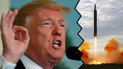 """Donald Trumpin mukaan Pohjois-Korean """"ydinkiristys"""" ei tule toimimaan."""