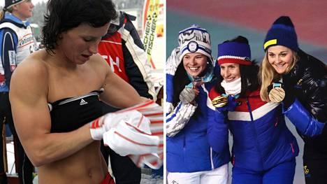 Marit Björgenin lihaskunto ja -erottuvuus ovat olleet naisten maastohiihdon maailmassa omaa luokkaansa. Asian saama huomio ei ole aina päähenkilöä miellyttänyt. Kuvassa oikealla Krista Pärmäkoski, Marit Björgen ja Stina Nilsson  Pyeongchangin olympialaisissa 2018.