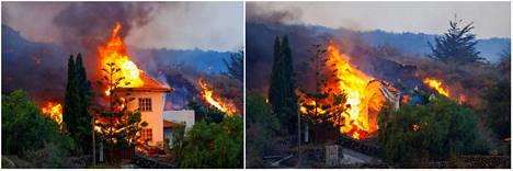 Kuvapari kertoo laavan tuhovoimasta Los Llanos de Aridanessa.