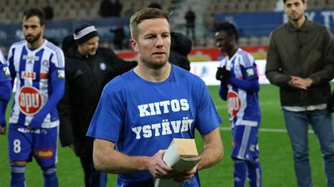 Sebastian Sorsa pelasi valtaosan urastaan HJK:ssa. Kuva jäähyväisottelusta HJK–SJK 23. lokakuuta 2016.