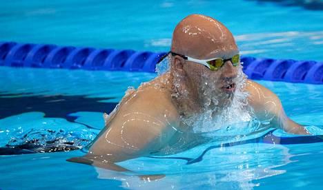 Matti Mattsson vauhdissa olympiafinaalissa.