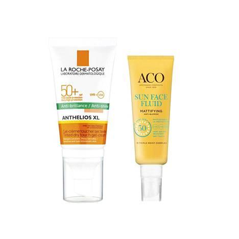 La Roche-Posayn Anthelios XL Dry Touch SPF 50 + -voide pitää ihon oikeasti mattaisena koko päivän, 20 € / 50 ml. ACO Sun Face Matte Lotion -voide on hajustamaton ja sopii hyvin myös meikin alle, 18 € / 40 ml.