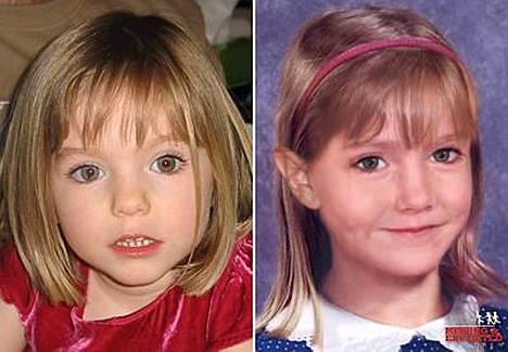 Vasemmalla Madeleinen McCann kaksi vuotta sitten, oikealla mallinnus, miltä hän näyttäisi nyt.