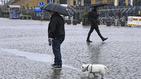 Mies ja koira sateisella Helsingin Kauppatorilla 29. heinäkuuta 2020.