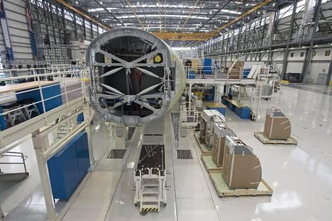Turmakoneen kaltaista Airbus A321:tä rakennetaan lentokonevalmistajan tehtaalla Alabamassa tämän vuoden syyskuussa.