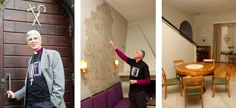 Tampereen hiippakunnan piispa Matti Repo on asunut piispantalossa vuodesta 2008. Residenssin seinällä on kartta, jossa on Tampereen hiippakunnan alue 1930-luvun lopussa.