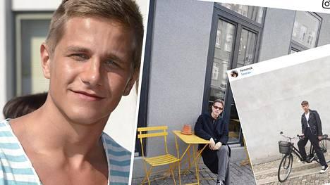 Näyttelijä Hemmo Karja vuonna 2013 ja vieressä hiljattain Kööpenhaminassa otetuissa Instagram-kuvissa.