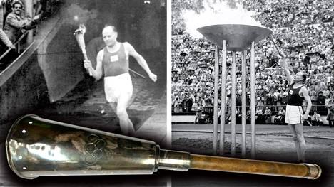 Paavo Nurmi sytytti olympiatulen Helsingissä heinäkuussa 1952. Alla myyntiin tuleva, yksi Helsingin kisoihin tehdyistä yli 20 olympiasoihdusta.