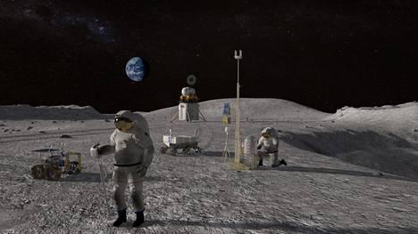 Nasalla on jo pitkälle menevät suunnitelmat Yhdysvaltain paluusta Kuuhun. Havainnekuva Artemis-ohjelman kuulennosta.