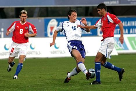 Marko Kolsi tositoimissa alle 21-vuotiaiden EM-karsintaottelussa Tshekkiä vastaan Vantaalla vuonna 2005.