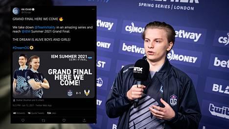 Suomalaisen Aleksi Virolaisen edustama Counter-Strike-joukkue OG taistelee sunnuntaina turnausvoitosta.
