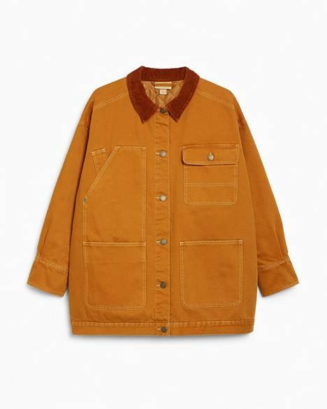 Vakosamettikaulus ja valtavat taskut ovat takin parasta antia, 80 €, Monki.
