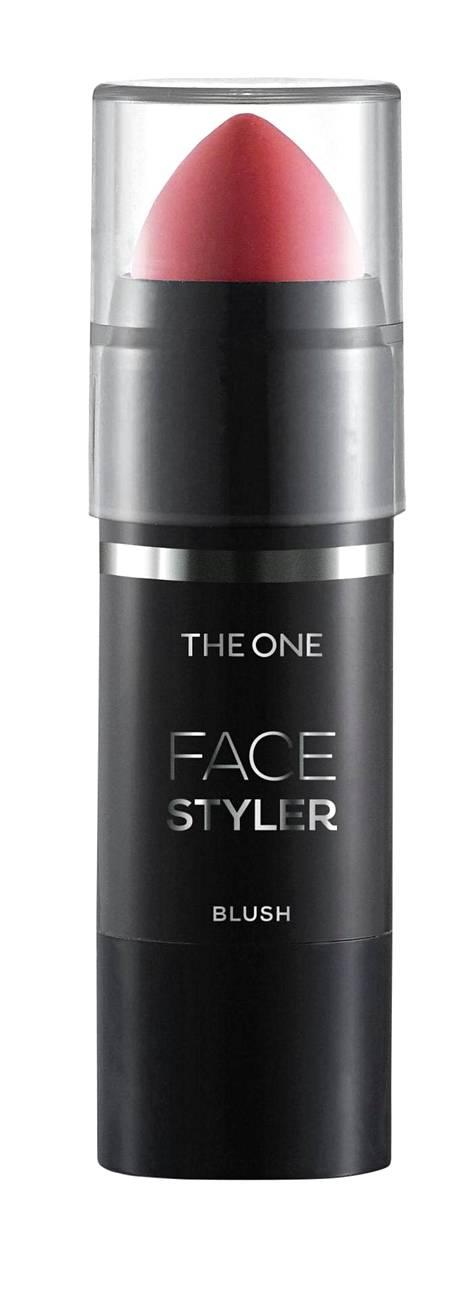 Oriflamen THE ONE Face Styler Blush Stunning Rose -poskipunapuikko liukuu nätisti iholla ja antaa kevyesti väriä sekä hohtoa, 18 e.