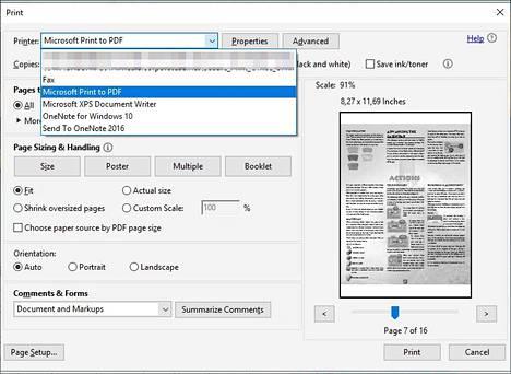 """Valitse """"tulostus pdf:ksi"""", niin saat haluamasi asiakirjan sivut omaan pdf-tiedostoonsa."""
