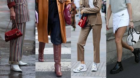 Esimerkiksi vaaleat perusnilkkurit, pitkät saapikkaat, muhkeat lenkkarit ja paksupohjaiset nahkasaappaat kuuluvat syyskenkien parhaimmistoon.