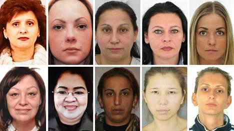 Kuvassa osa Europolin etsimistä naisrikollisista.
